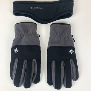 Columbia Mens Gloves and Headband Gray & Black